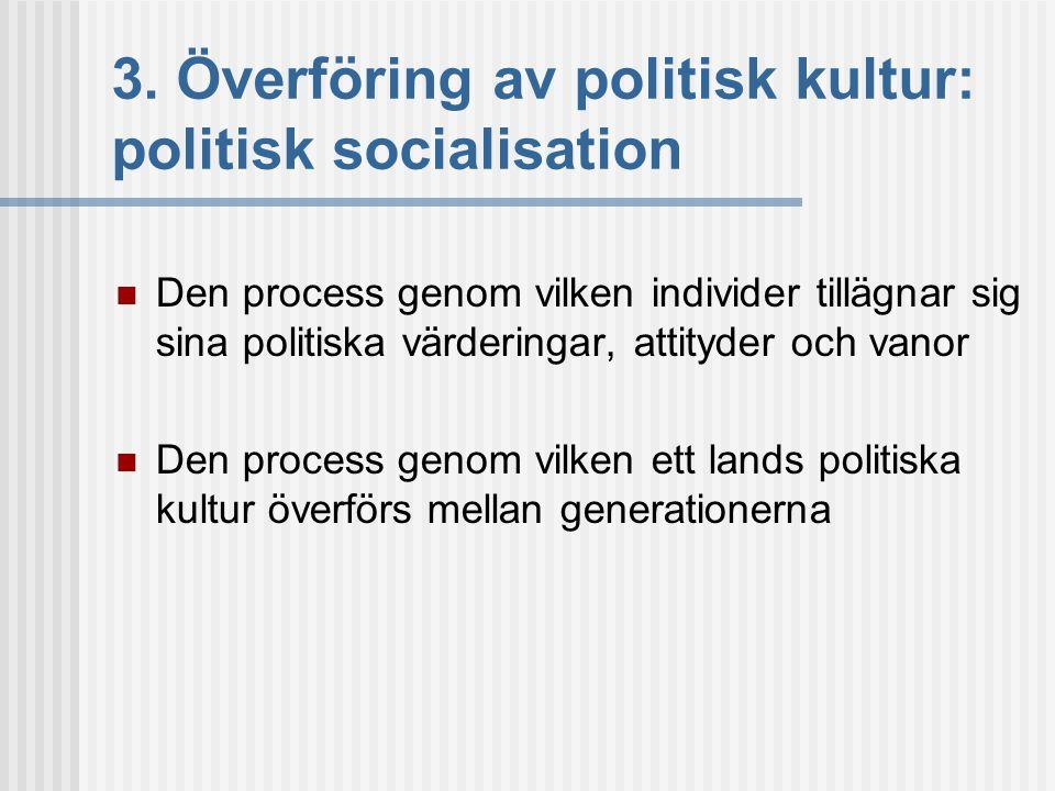 3. Överföring av politisk kultur: politisk socialisation