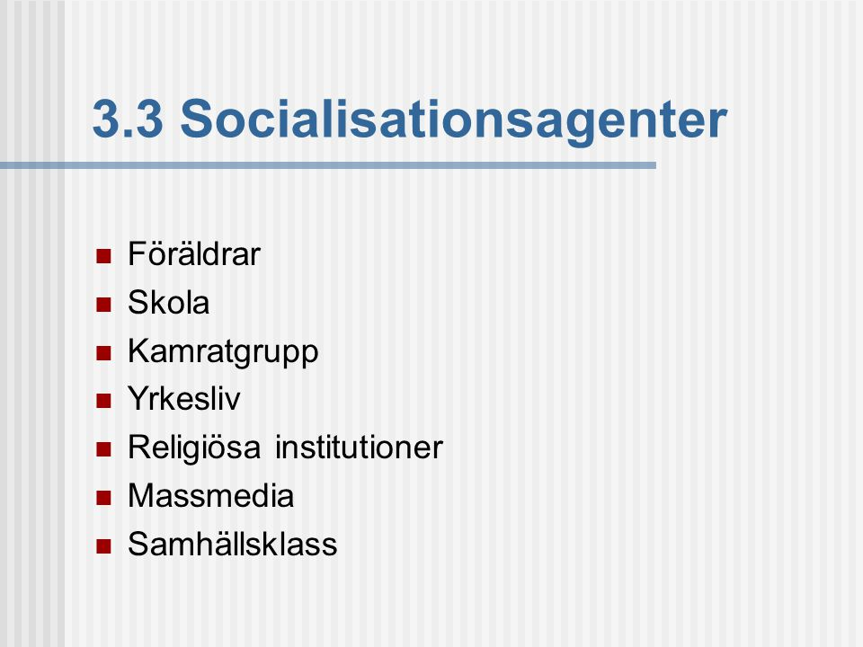 3.3 Socialisationsagenter