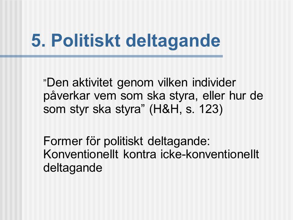 5. Politiskt deltagande Den aktivitet genom vilken individer påverkar vem som ska styra, eller hur de som styr ska styra (H&H, s. 123)