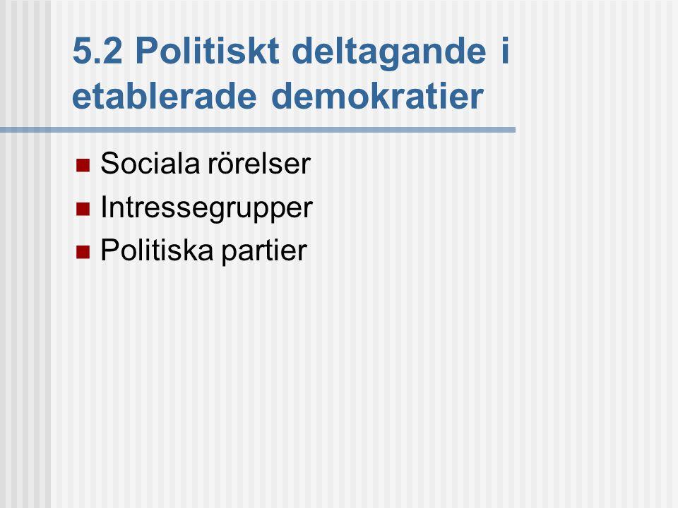 5.2 Politiskt deltagande i etablerade demokratier