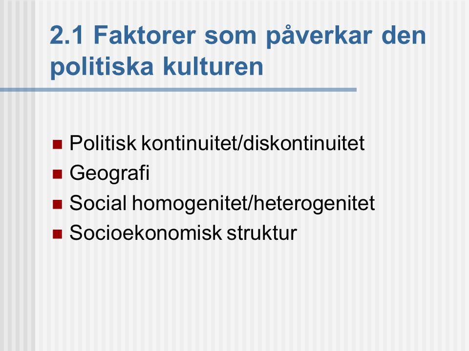 2.1 Faktorer som påverkar den politiska kulturen
