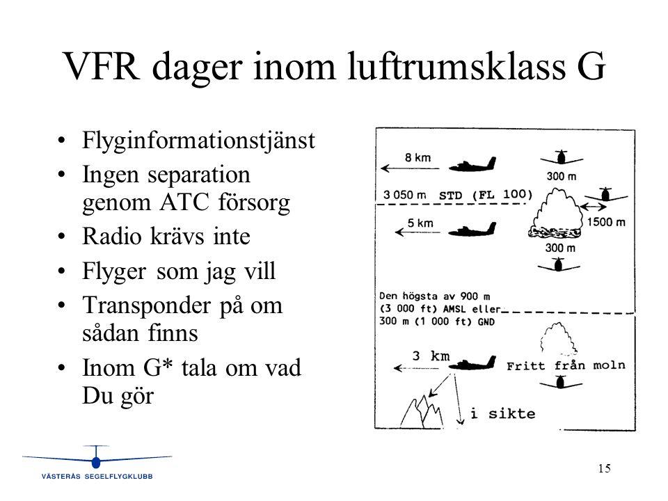 VFR dager inom luftrumsklass G