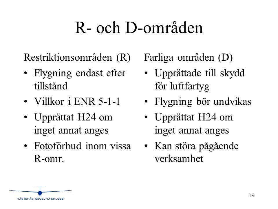 R- och D-områden Restriktionsområden (R)