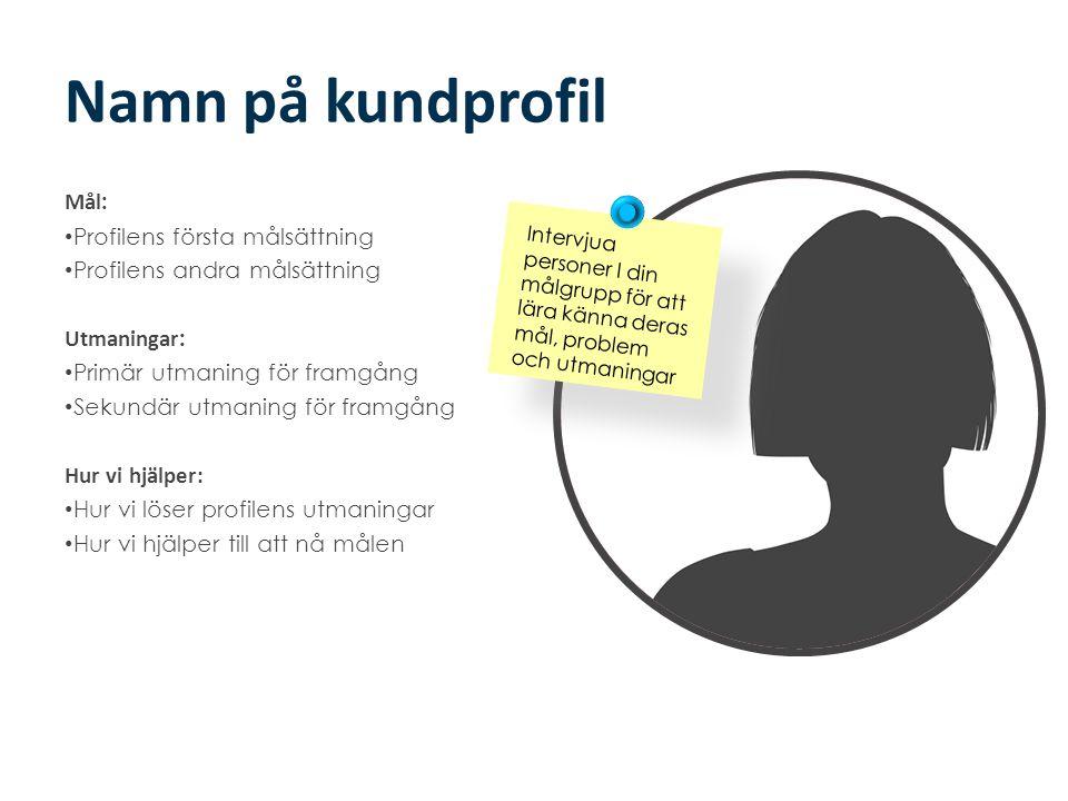 Namn på kundprofil Mål: Profilens första målsättning