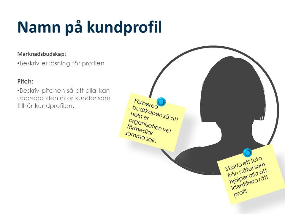 Namn på kundprofil Marknadsbudskap: Beskriv er lösning för profilen
