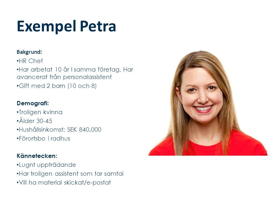 Exempel Petra Bakgrund: HR Chef
