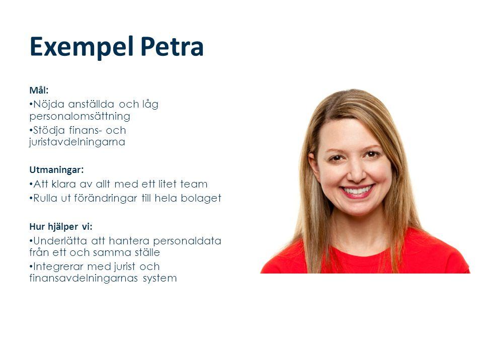 Exempel Petra Mål: Nöjda anställda och låg personalomsättning