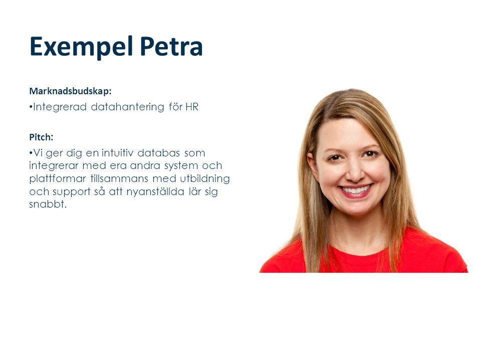 Exempel Petra Marknadsbudskap: Integrerad datahantering för HR Pitch: