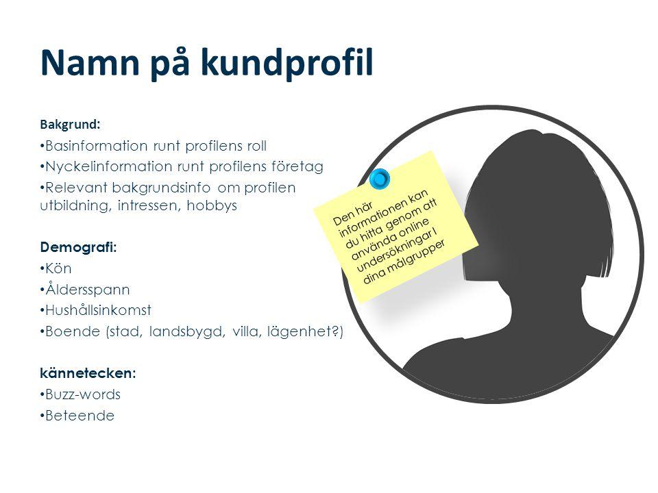 Namn på kundprofil Bakgrund: Basinformation runt profilens roll