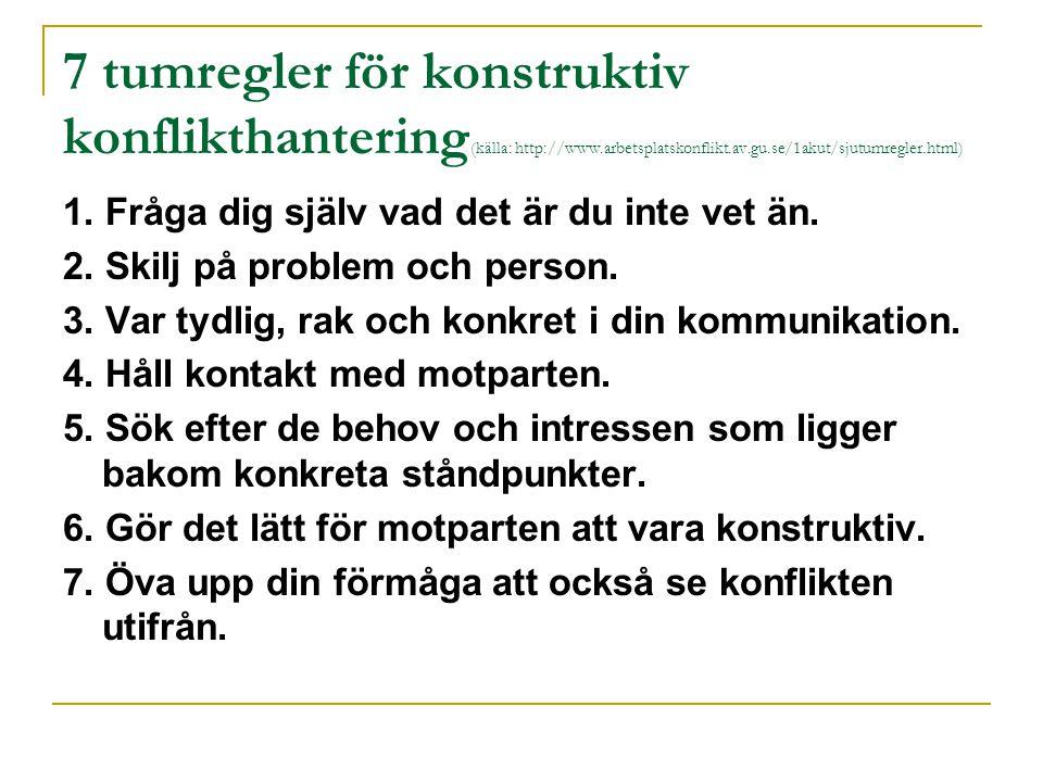 7 tumregler för konstruktiv konflikthantering(källa: http://www