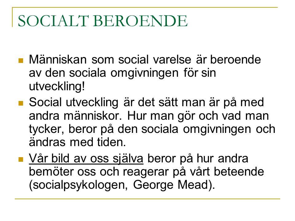 SOCIALT BEROENDE Människan som social varelse är beroende av den sociala omgivningen för sin utveckling!
