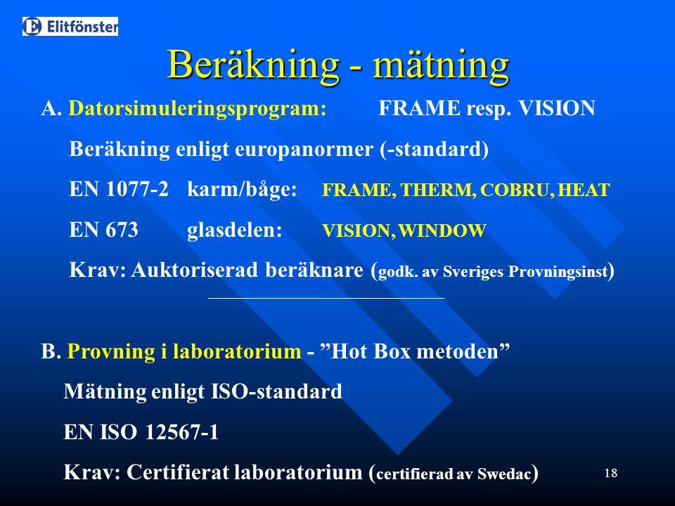 Beräkning - mätning A. Datorsimuleringsprogram: FRAME resp. VISION