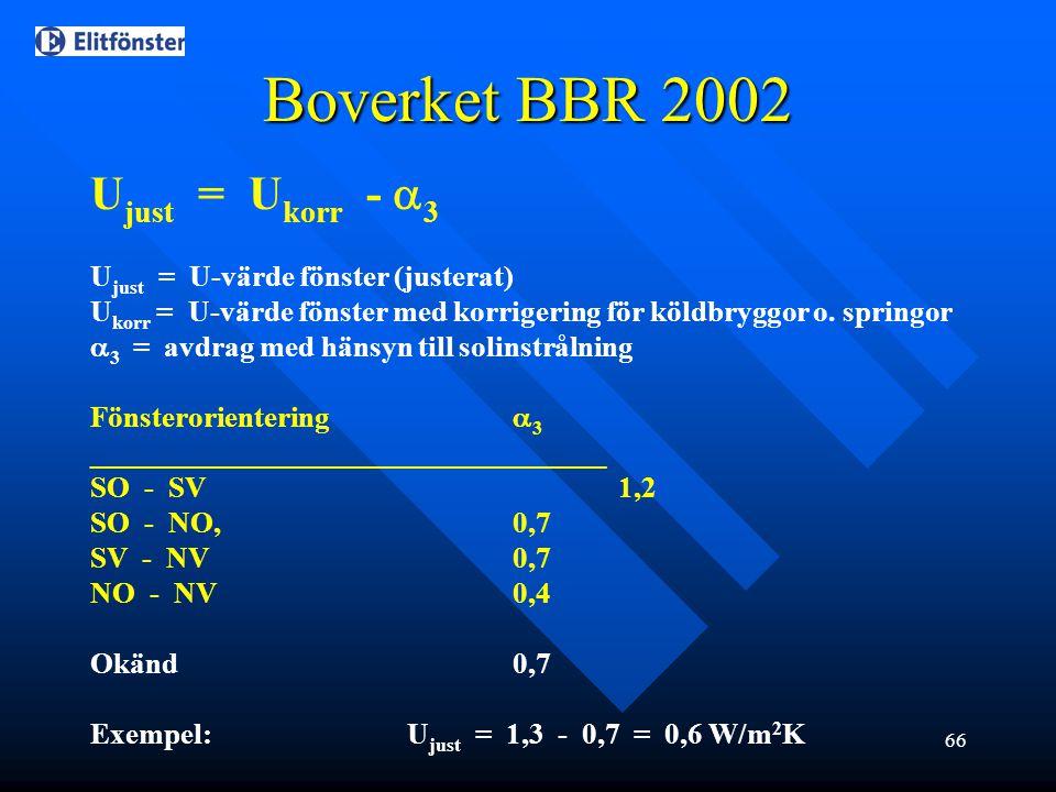 Boverket BBR 2002 Ujust = Ukorr - 3