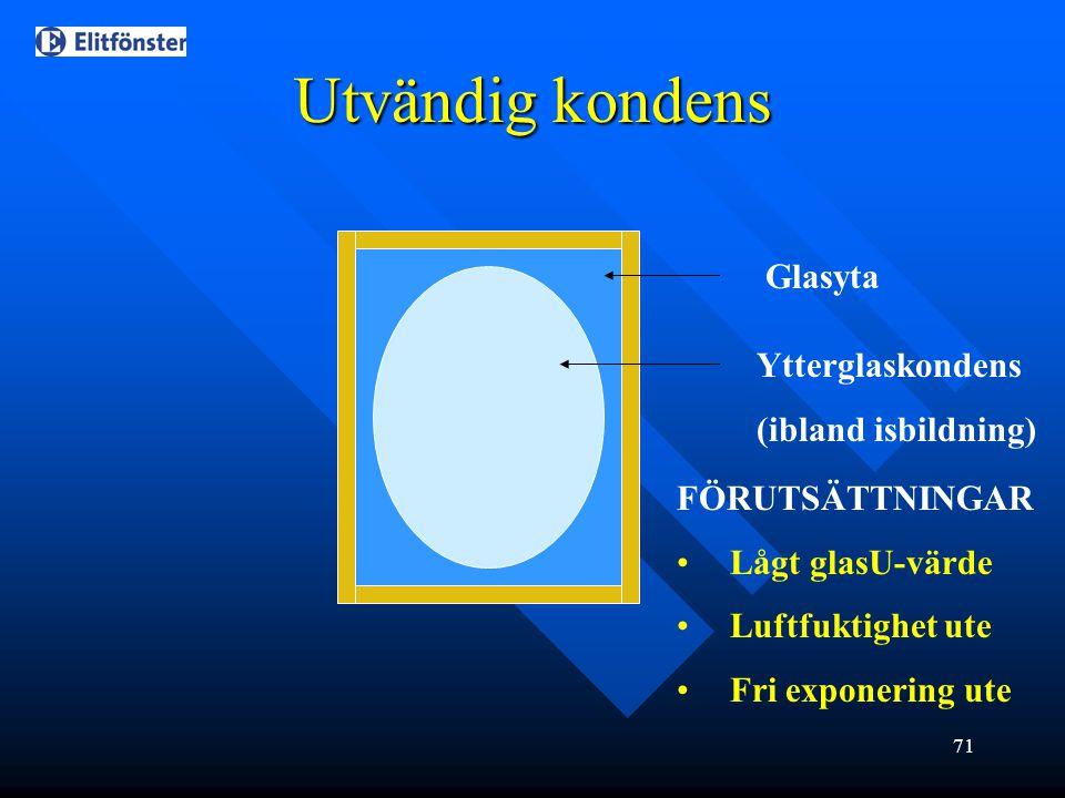 Utvändig kondens Glasyta Ytterglaskondens (ibland isbildning)