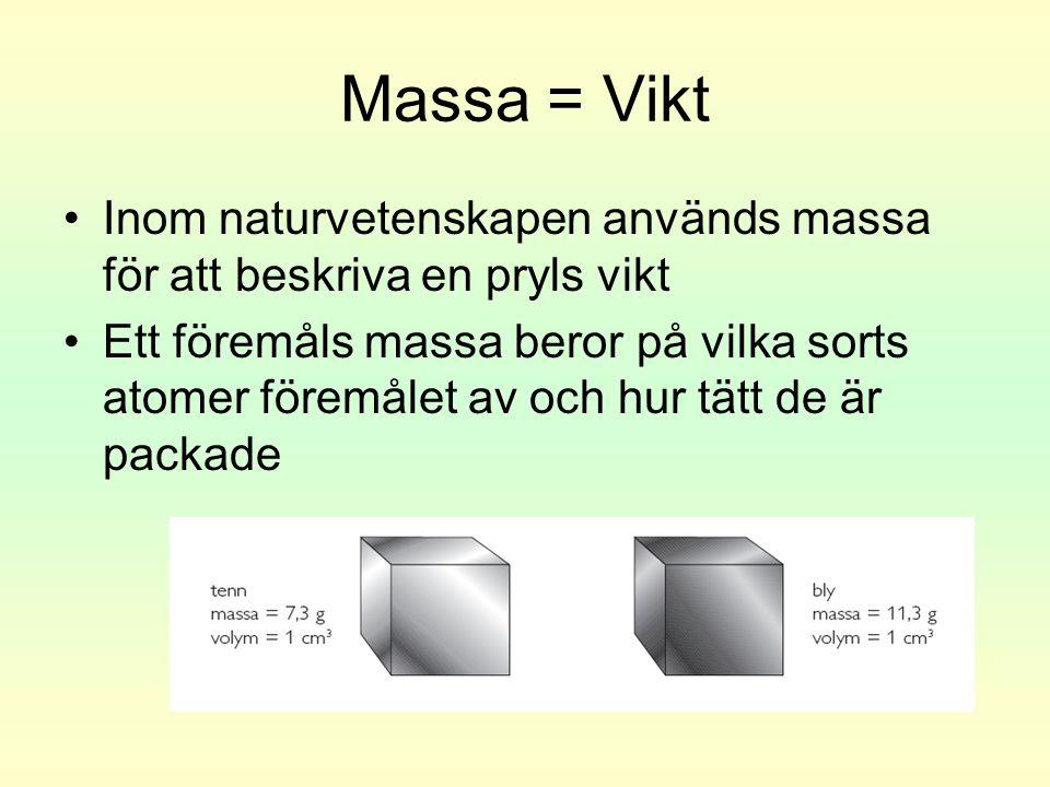 Massa = Vikt Inom naturvetenskapen används massa för att beskriva en pryls vikt.