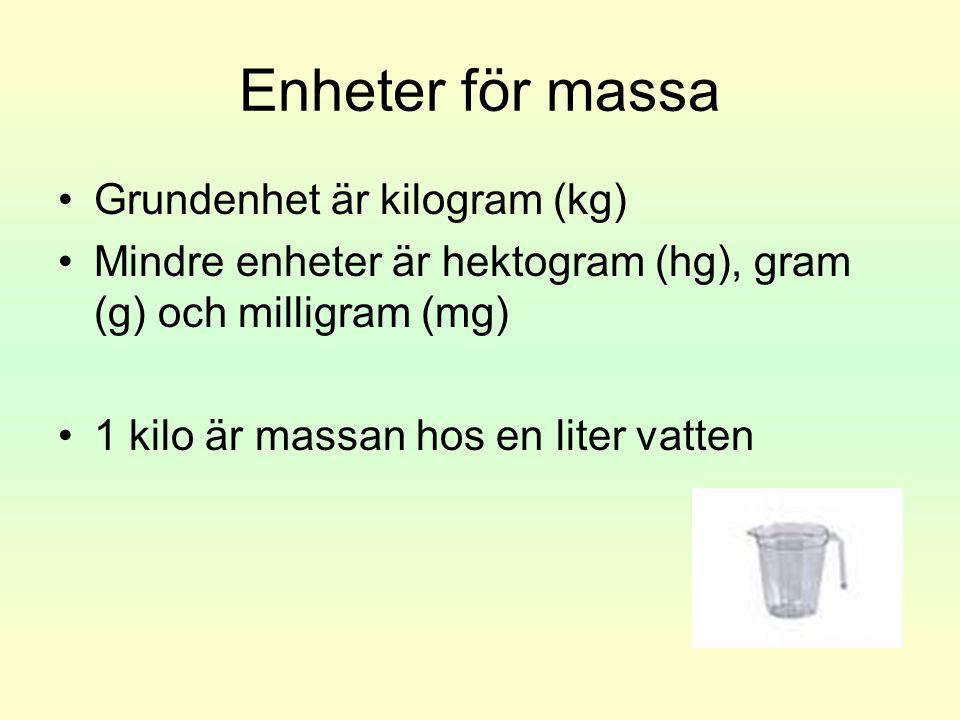 Enheter för massa Grundenhet är kilogram (kg)