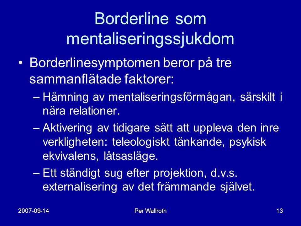 Borderline som mentaliseringssjukdom