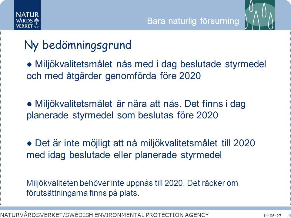 Ny bedömningsgrund ● Miljökvalitetsmålet nås med i dag beslutade styrmedel och med åtgärder genomförda före 2020.