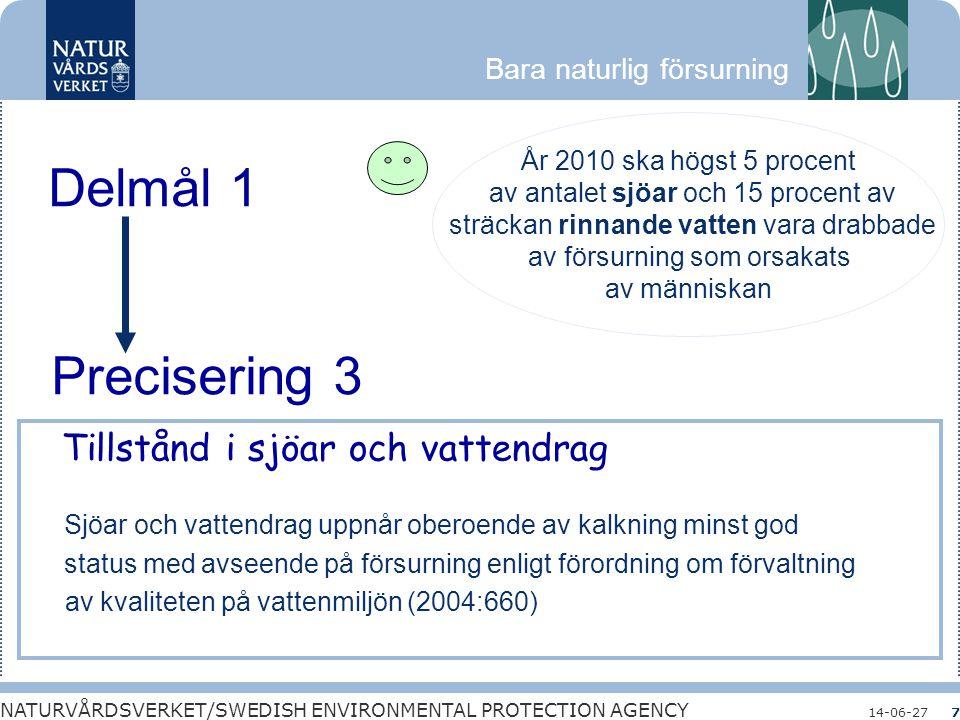 Delmål 1 Precisering 3 Tillstånd i sjöar och vattendrag