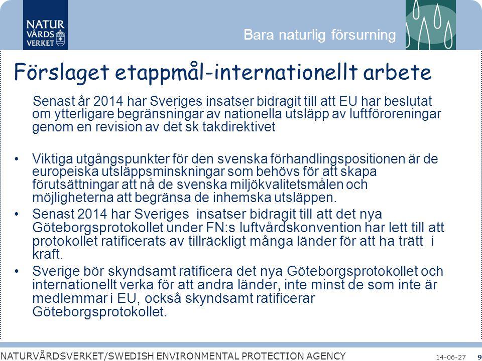 Förslaget etappmål-internationellt arbete