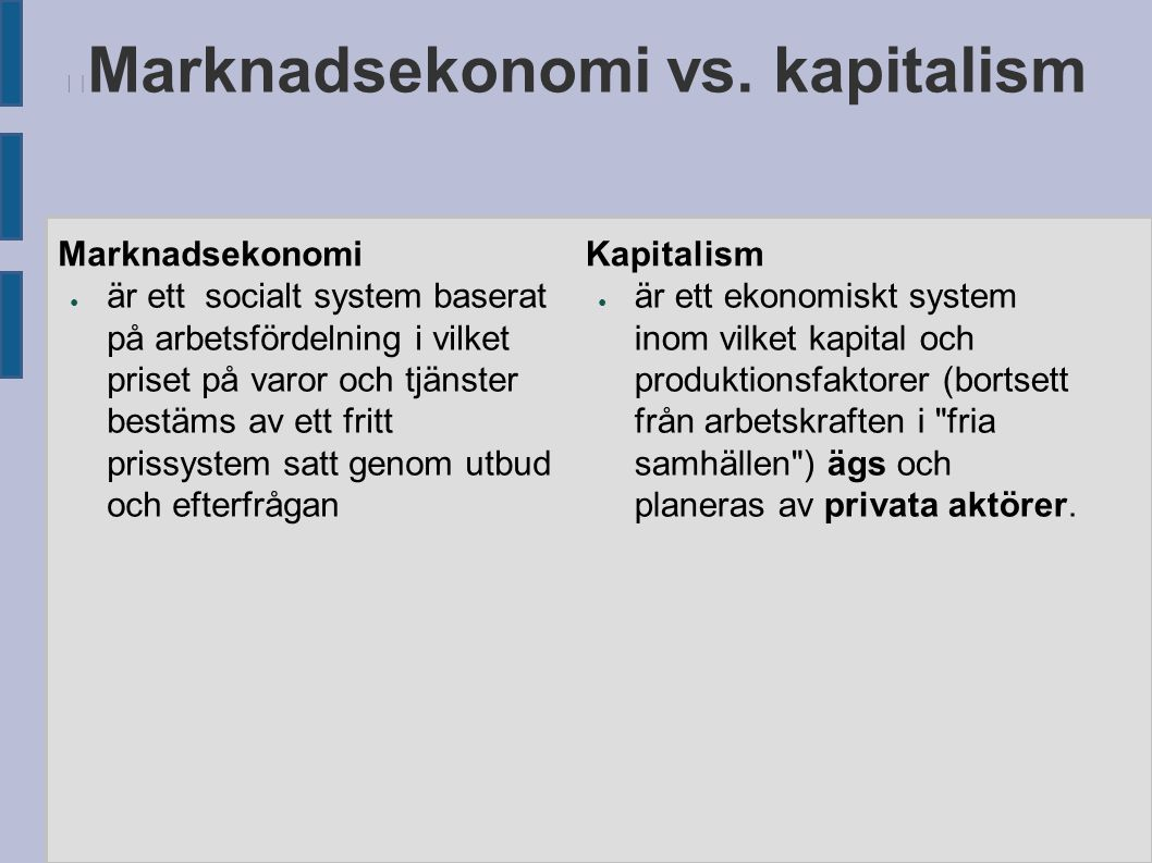 Marknadsekonomi vs. kapitalism