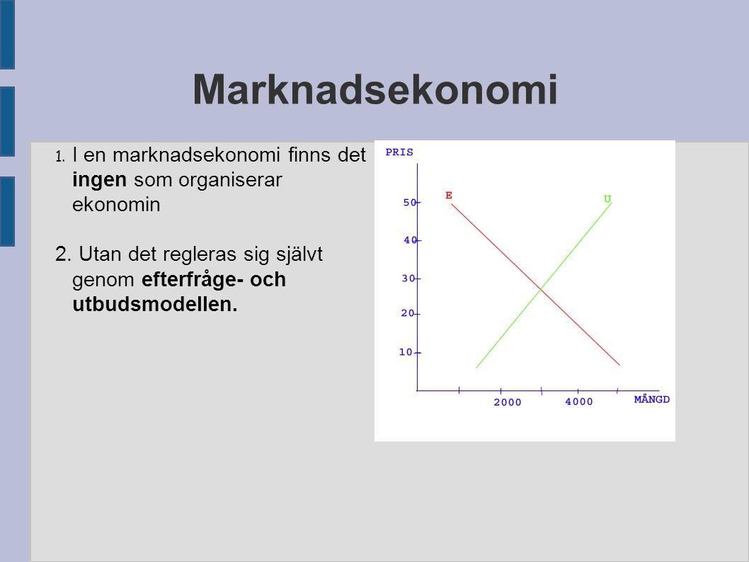 Marknadsekonomi 1. I en marknadsekonomi finns det ingen som organiserar ekonomin.