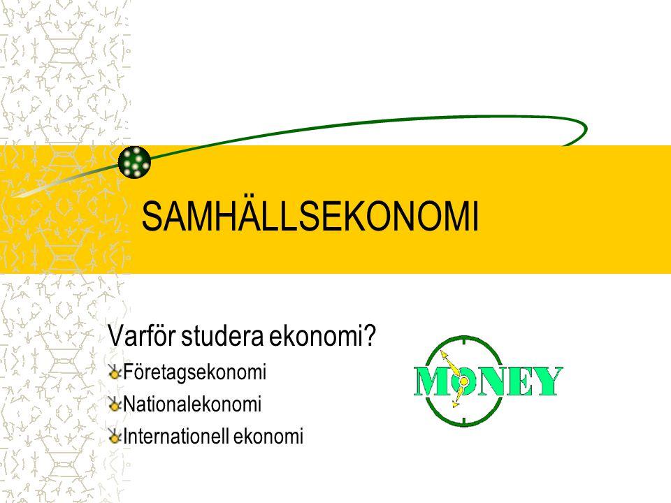SAMHÄLLSEKONOMI Varför studera ekonomi Företagsekonomi