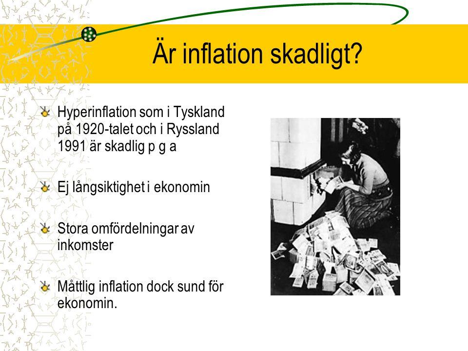 Är inflation skadligt Hyperinflation som i Tyskland på 1920-talet och i Ryssland 1991 är skadlig p g a.