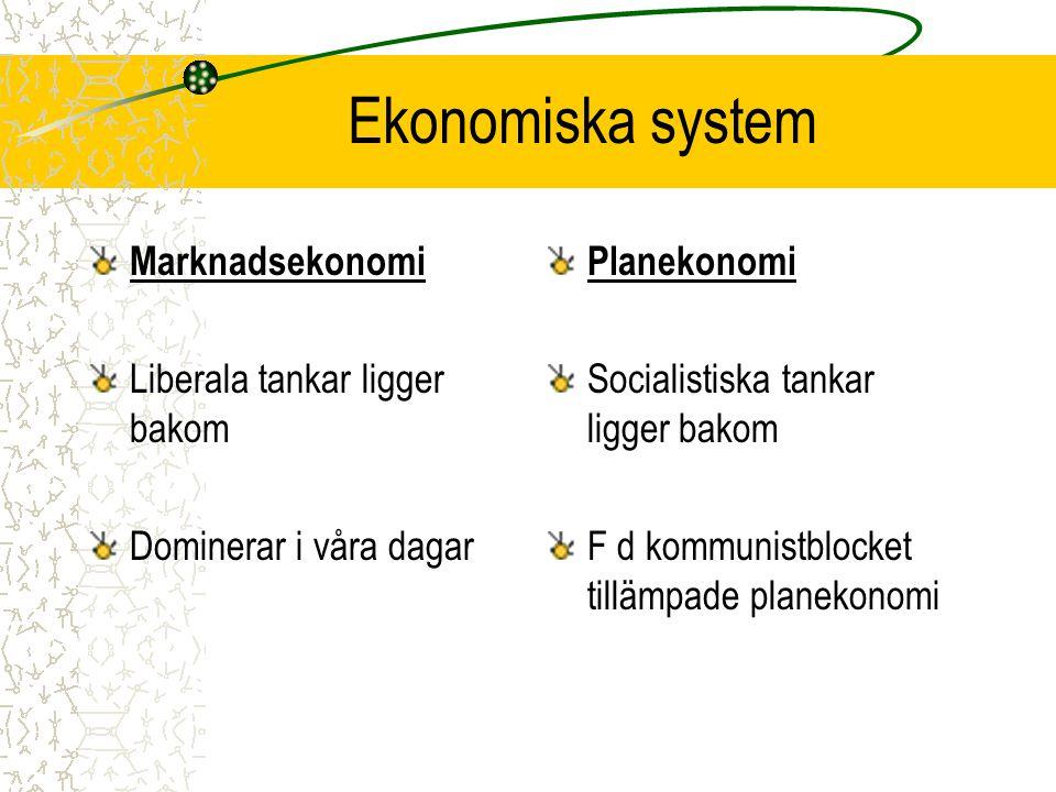 Ekonomiska system Marknadsekonomi Liberala tankar ligger bakom