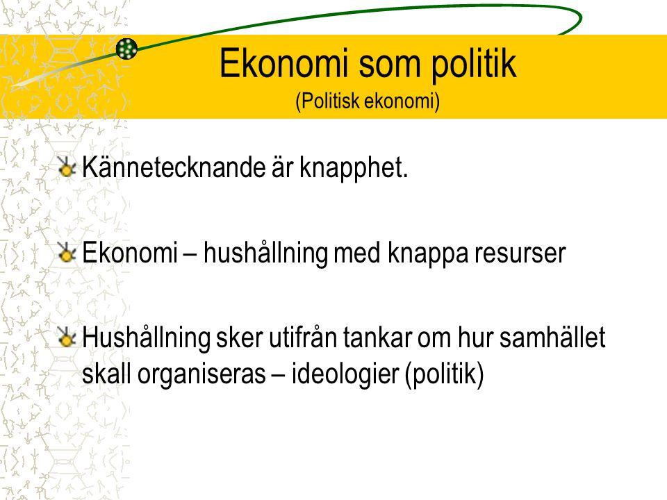 Ekonomi som politik (Politisk ekonomi)