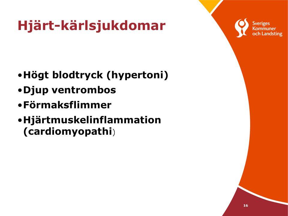 Hjärt-kärlsjukdomar Högt blodtryck (hypertoni) Djup ventrombos