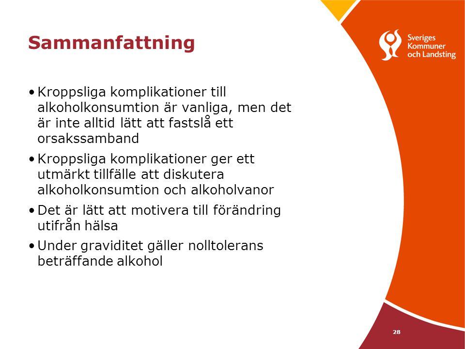 Sammanfattning Kroppsliga komplikationer till alkoholkonsumtion är vanliga, men det är inte alltid lätt att fastslå ett orsakssamband.