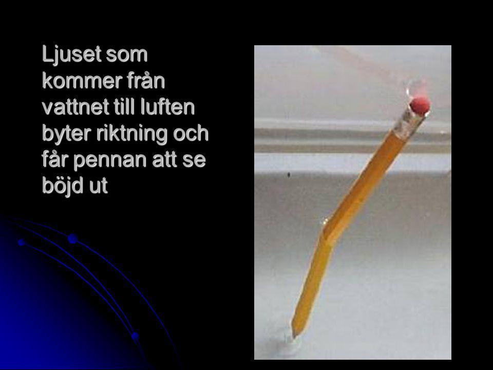 Ljuset som kommer från vattnet till luften byter riktning och får pennan att se böjd ut