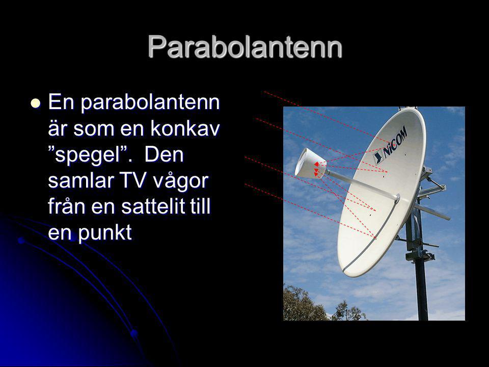 Parabolantenn En parabolantenn är som en konkav spegel .