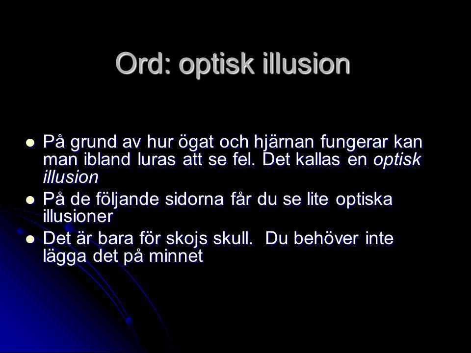 Ord: optisk illusion På grund av hur ögat och hjärnan fungerar kan man ibland luras att se fel. Det kallas en optisk illusion.