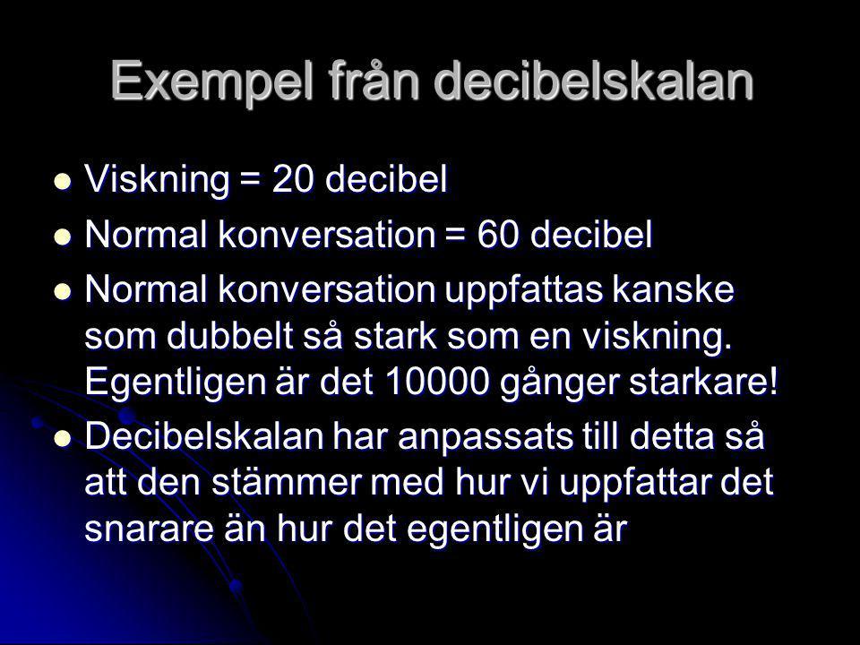 Exempel från decibelskalan