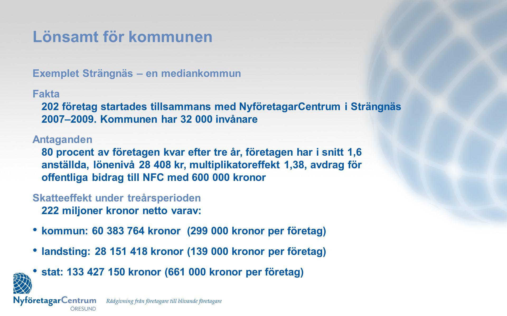 Lönsamt för kommunen Exemplet Strängnäs – en mediankommun