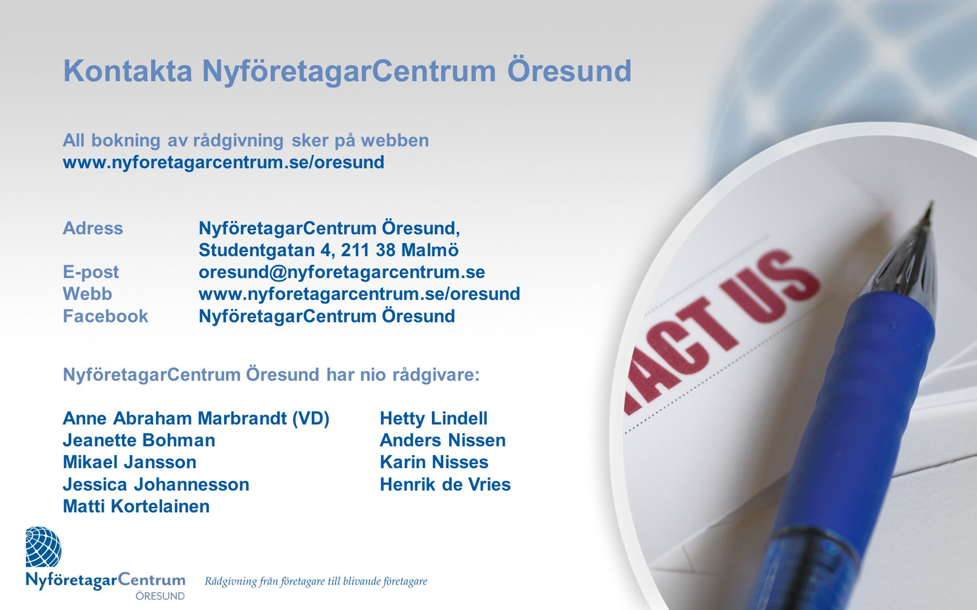 Kontakta NyföretagarCentrum Öresund