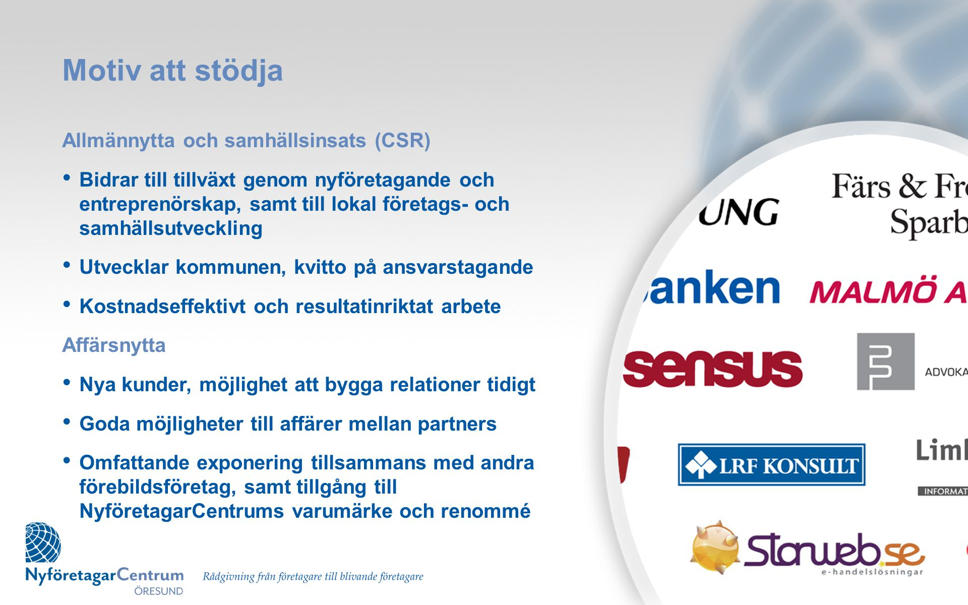 Motiv att stödja Allmännytta och samhällsinsats (CSR)