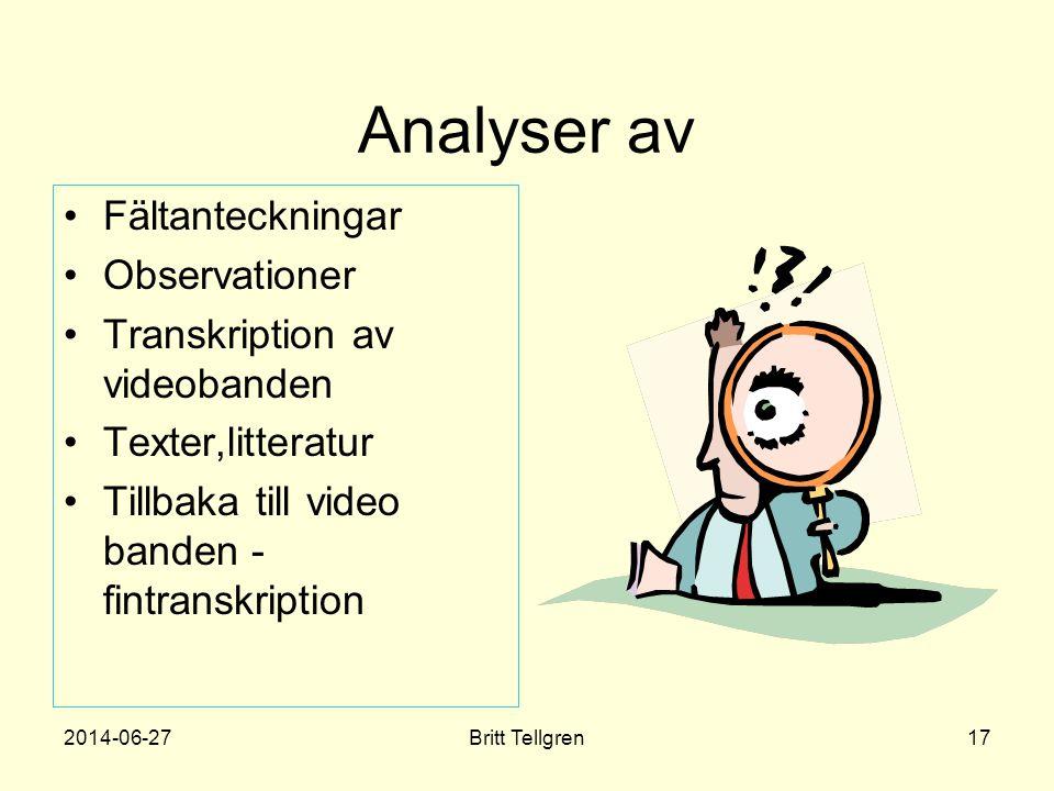 Analyser av Fältanteckningar Observationer