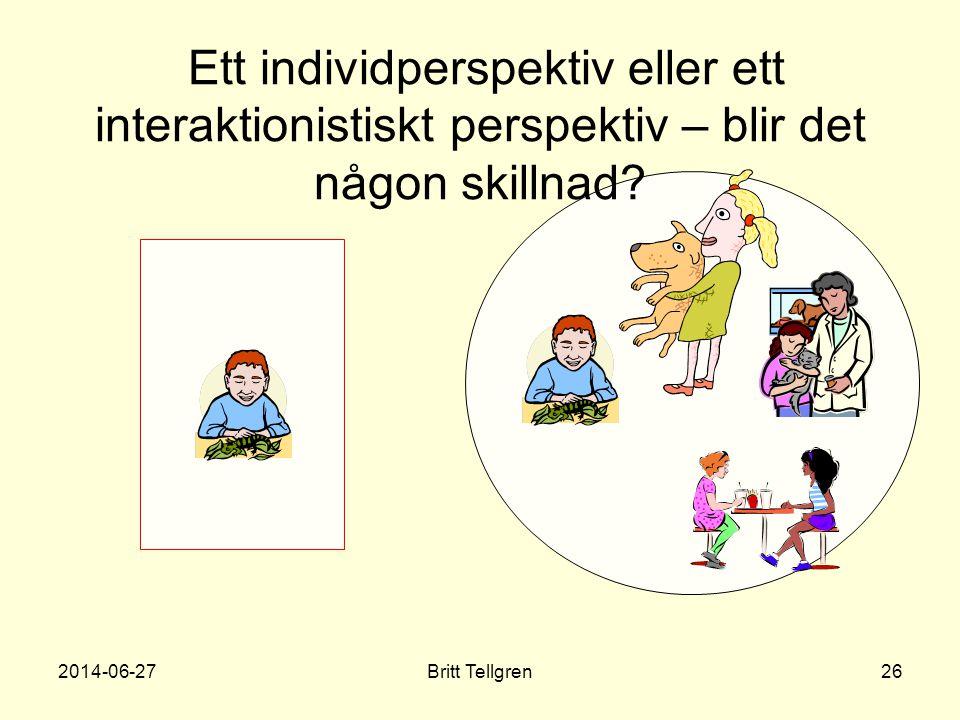 Ett individperspektiv eller ett interaktionistiskt perspektiv – blir det någon skillnad