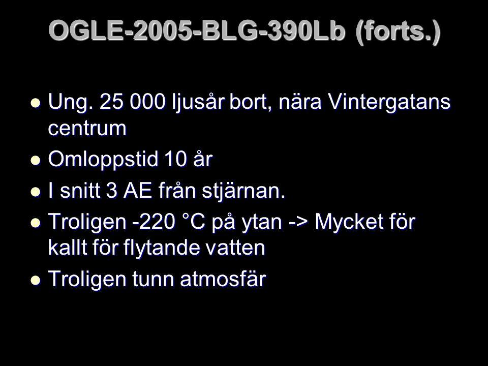 OGLE-2005-BLG-390Lb (forts.) Ung. 25 000 ljusår bort, nära Vintergatans centrum. Omloppstid 10 år.