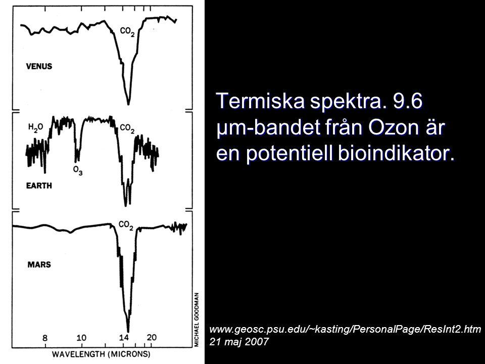 Termiska spektra. 9.6 μm-bandet från Ozon är en potentiell bioindikator.