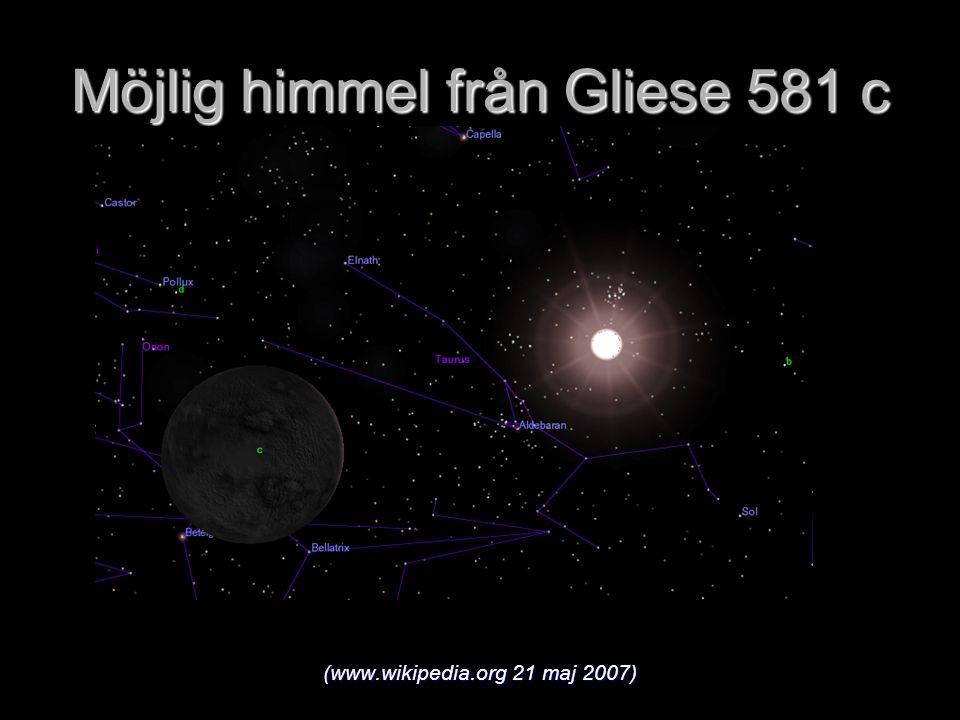 Möjlig himmel från Gliese 581 c