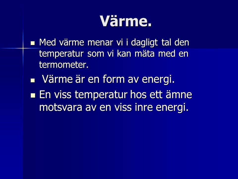 Värme. Med värme menar vi i dagligt tal den temperatur som vi kan mäta med en termometer. Värme är en form av energi.
