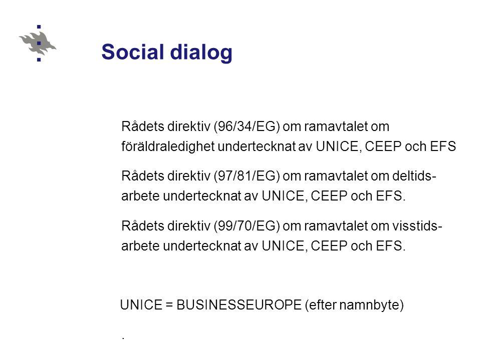 30.10.2012 Social dialog. Rådets direktiv (96/34/EG) om ramavtalet om föräldraledighet undertecknat av UNICE, CEEP och EFS.