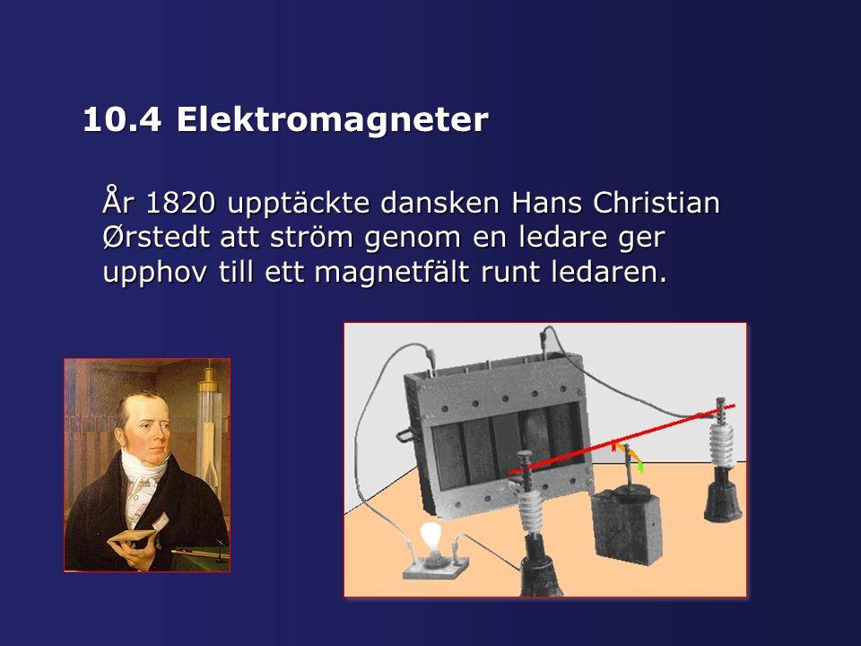 10.4 Elektromagneter År 1820 upptäckte dansken Hans Christian Ørstedt att ström genom en ledare ger upphov till ett magnetfält runt ledaren.