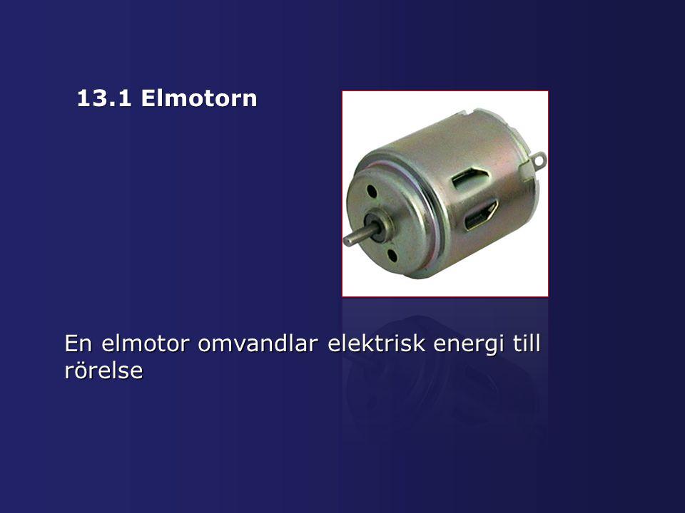 13.1 Elmotorn En elmotor omvandlar elektrisk energi till rörelse