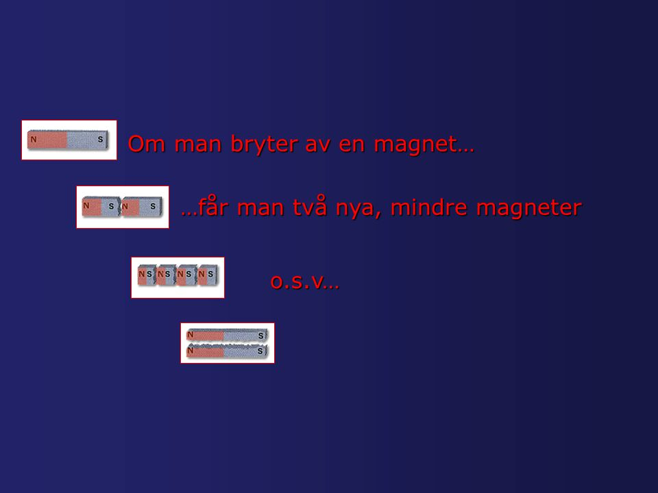Om man bryter av en magnet…