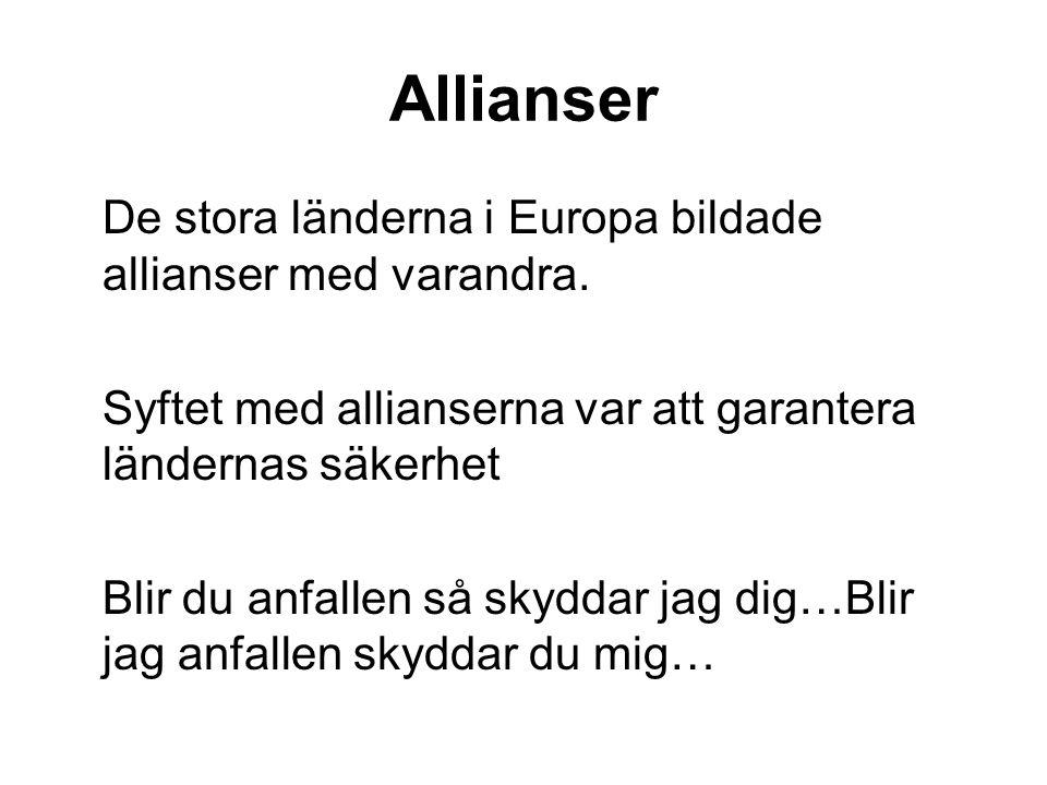 Allianser De stora länderna i Europa bildade allianser med varandra.